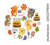 vector set of birthday.... | Shutterstock .eps vector #1042379854