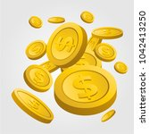 coins dollar gold color | Shutterstock .eps vector #1042413250