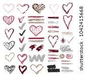 set of chalk vector textures.... | Shutterstock .eps vector #1042415668