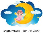 cute fairy sitting on moon at... | Shutterstock .eps vector #1042419820