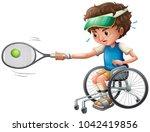 tennis player on wheelchair ...   Shutterstock .eps vector #1042419856