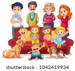 people in family in livingroom... | Shutterstock .eps vector #1042419934
