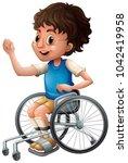 happy boy on wheelchair...   Shutterstock .eps vector #1042419958