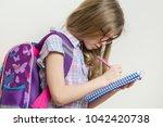 young schoolgirl in glasses and ... | Shutterstock . vector #1042420738