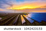sunset under new energy solar...   Shutterstock . vector #1042423153