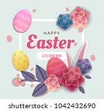 happy easter elegant card day... | Shutterstock .eps vector #1042432690