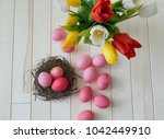Easter. Pink Easter Eggs And...