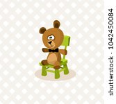 vector teddy bear sitting on... | Shutterstock .eps vector #1042450084