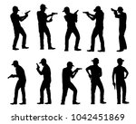 set of man with gun silhouette... | Shutterstock .eps vector #1042451869