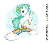 cute magical unicorn and... | Shutterstock .eps vector #1042452556