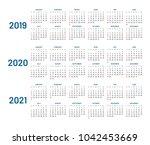 three years calendar  2019 ... | Shutterstock . vector #1042453669