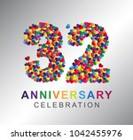 32nd anniversary design...   Shutterstock .eps vector #1042455976