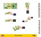 set of  thai baht banknote....   Shutterstock .eps vector #1042456504