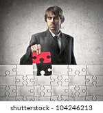 young businessman finishing a... | Shutterstock . vector #104246213