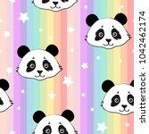 cute panda seamless pattern...   Shutterstock .eps vector #1042462174