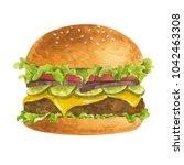 watercolor illustration of... | Shutterstock . vector #1042463308