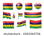 set mauritius flags  banners ... | Shutterstock . vector #1042464736
