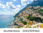 view on positano on amalfi... | Shutterstock . vector #1042509463