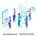 isometric teenagers  students ... | Shutterstock .eps vector #1042511920