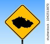 czech republic map road sign.... | Shutterstock .eps vector #1042513870