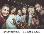 group of friends making... | Shutterstock . vector #1042514233