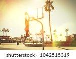 Basketball Slam Dunk On A...