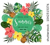 summer tropical background with ... | Shutterstock .eps vector #1042515376
