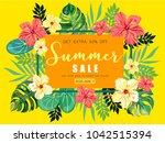rectangular summer tropical...   Shutterstock .eps vector #1042515394