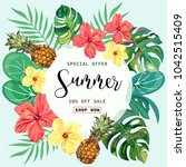 summer tropical background with ... | Shutterstock .eps vector #1042515409