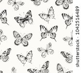 seamless pattern of hand drawn... | Shutterstock .eps vector #1042516489