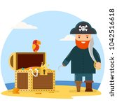 pirate with treasure chest   Shutterstock .eps vector #1042516618