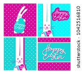 happy easter design collection. ...   Shutterstock .eps vector #1042516810