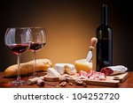 romantic dinner with wine ... | Shutterstock . vector #104252720