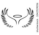 vector sketch of angel wings   Shutterstock .eps vector #1042529056