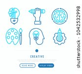 creative thin line icons set ... | Shutterstock .eps vector #1042532998