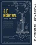 industrial 4.0 with robot... | Shutterstock .eps vector #1042535428