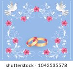 floral ornament frame  golden... | Shutterstock .eps vector #1042535578