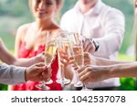 friends having a toast | Shutterstock . vector #1042537078