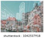 scene street illustration. hand ... | Shutterstock .eps vector #1042537918