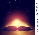 open magical old book glowing... | Shutterstock . vector #1042552318