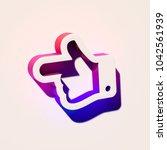 white hand left icon. 3d... | Shutterstock . vector #1042561939