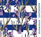 irises flowers vector seamless... | Shutterstock .eps vector #1042563454