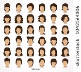 brunette girl with collection... | Shutterstock .eps vector #1042564306