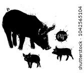 pig and two little pigs grunge... | Shutterstock .eps vector #1042565104