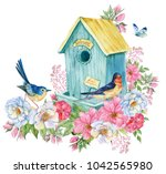 bird house  swallow and blue... | Shutterstock . vector #1042565980