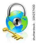 World globe like a locked padlock with key. Concept could be for internet security, data protection or general security - stock vector