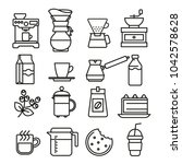 linear flat coffee icons set | Shutterstock .eps vector #1042578628
