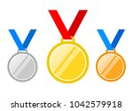 set of gold medal  silver and... | Shutterstock .eps vector #1042579918