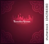 ramadan kareem greeting card...   Shutterstock .eps vector #1042583383