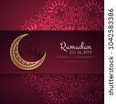 ramadan kareem greeting card... | Shutterstock .eps vector #1042583386